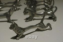 10 Art nouveau deco FRENCH silver plate knife rests animals tiger lion dog cat