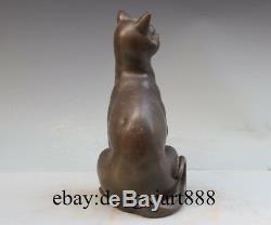 11 Western Art Coffee Bronze Copper Cat Happiness Animal Art Deco Sit Sculpture