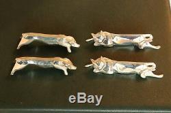 12 Christofle Gallia dog cat silver plate Animal Knives rest Art Deco Sandoz BOX