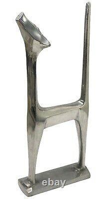 13 1976 Art Deco Aluminum Cat Sculpture Statue Signed Chris Petersen Siamese