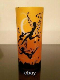 1920s Art Deco DeVilbiss Glass Lamp Shade Nude Fairies Cat Stars Moon Silhouette