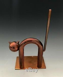 1930s WALTER VON NESSEN Machine Era Cat Bookends by Chase Brass ART DECO