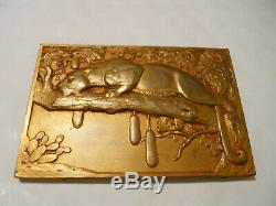 1936 RARE FRENCH ART DECO CATS MEDAL PLAQUE by THENOT THE LEOPARD WILD ANIMALS