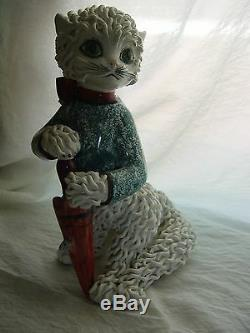 1950 Vintage Hand Made Collectible Italian Pottery Cat With Umbrella&mouse, Rare