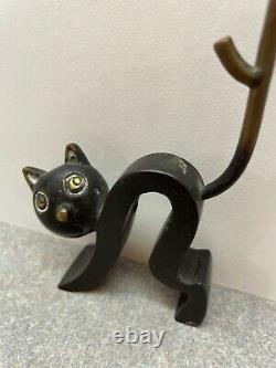 1950's Art Deco Hagenauer Bronze Ring Holder Cat by Richard Rohac