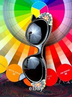 1950s Bausch & Lomb Women's Cat Eye Glasses Sunglasses Floral Deco Cat's Meow