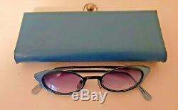 1950s Vintage Eye Glasses, Cat Eye, Retro, Blue, Tinted, metal, w Original Case