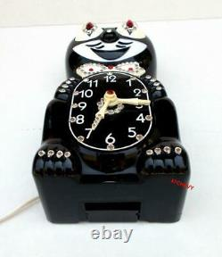 1960's VINTAGE BLACK ELECTRIC-KIT CAT KLOCK-KAT CLOCK-ORIGINAL MOTOR REBUILT USA