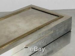 1970 Jansen Guy Lefevre Boite Metal Argente Art-deco Moderniste Shabby-chic