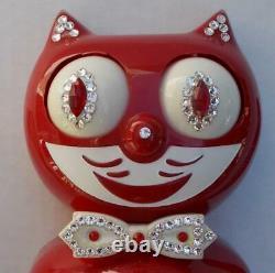 1980's RED-VINTAGE ELECTRIC-KIT CAT KLOCK-KAT CLOCK-ORIGINAL MOTOR REBUILT-WORKS