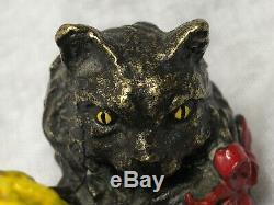 1 Adorable Fine 20th Century Vintage Miniature Cold Painted Bronze Playful Cat