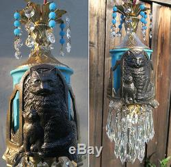 1o2 Black Cat Swag Lamp Chandelier metal glass opalin Beads crystal Art Deco Ins