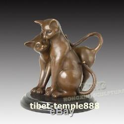 26 cm Western art deco bronze Marbler Two pet tight cat kitten tomcat sculpture