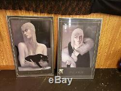 2 JMW Chrzanoska Solitaire Lithograph Art Deco Woman with Black Cat Framed