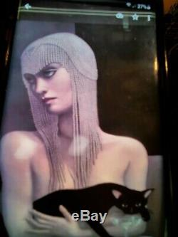 2 J. M. W. Chrzanoska Art Deco Women 1-wine Glass 2-holding Cat Each 28 X 43