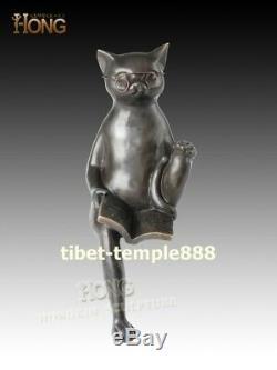 33 cm Western Art Deco pure Bronze cartoon figure the cat Reading Book Sculpture