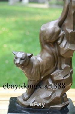 36 CM Western Art Deco Pure Bronze Marble Leopard Cat Panther Animal Sculpture
