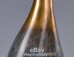 37 CM Western Art Deco Pure Bronze Wood Two affectionate cat Ornament Sculpture