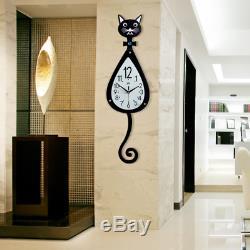 3D Black Cat Shape Design Decor Wall Clock With Wall Hooks Large 35.4L 10.2W