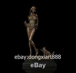 40 CM Western Art Deco Bronze Young Women Girl Fair maiden And Cat Art Sculpture
