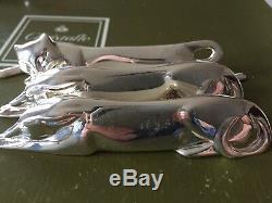 4 Christofle Gallia dog cat silver plate Animal Knives rest Art Deco Sandoz