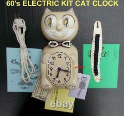 60s IVORY ELECTRIC-KIT CAT KLOCK-KAT CLOCK-WithCUSTOM EYES-VINTAGE-WORKS- USA
