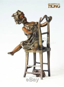 8.8 Art Deco Sculpture Lovely Girl Who Plays Cat On Chair Animal Bronze Statue