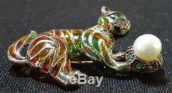 9 carat gold plique a jour diamond & emerald vintage Art Deco antique cat brooch