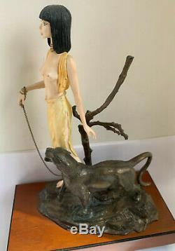 ALBANY China Figure KHARTOUM Semi Nude Art Deco Style Bronze Panther Cat 83/350