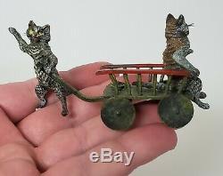 ANTIQUE AUSTRIA c1900 GESHUTZ VIENNA BRONZE MINIATURE FIGURE of CAT PULLING CART