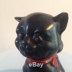 ART DECO LOUIS WAIN STYLE POTTERY SMILING BLACK CAT 1920's 30's