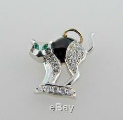 ART DECO Platinum, Diamond, Enamel & Emerald Cat Charm Circa 1920s
