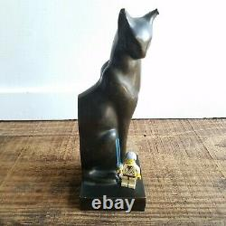 ART DECO Siamese Cat Bookend Bronzed Metal Cubist Style Statue Mid Century
