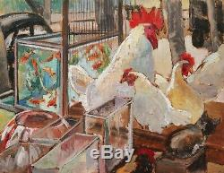 Anne Escassut French Oil Painting Animal Art Rooster Hens Cat Aquarium Paris
