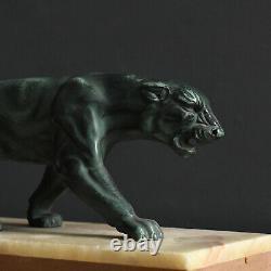 Antique1930's Art Deco Spelter Big Cat Panther Sculpture on Marble Base