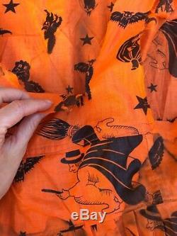 Antique 1930s Halloween Dress Witch Bat Cat Owl Costume Cotton Orange & Black