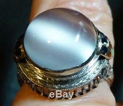Antique Art Deco 14K White Gold Filigree Enamel Cats Eye Moonstone Ring Sz 5.75