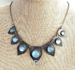 Antique Art Deco Artisan Silver & Blue Cat's Eye Glass Moonstone Necklace