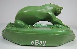 Antique Art Deco Big Cat Hunting Fowl Bird Card Trinket Ash Tray Glass Inserts