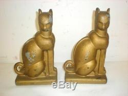 Antique Art Deco Cats Gold Painted Metal Nouveau Bookends Stunning 1930's Regal