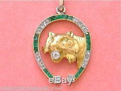 Antique Art Deco Diamond Emerald Horseshoe Lion Cat Exotic Feline Pendant 1930