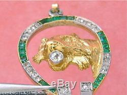 Antique Art Deco Diamond Emerald Horseshoe Lion Cat Exotic Feline Pendant 1930
