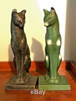 Antique Art Deco Frankart Nuart Cat Cats Bookends Green Black Metal 8 Sleek