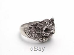 Antique Art Deco French Solid Silver 800 Cat Ring With Garnet Eyes Stone Size 7