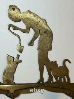 Antique Art Deco/Nouveau Brass 3-Hook Wall Rack Woman Feeding Fish Tail to Cats