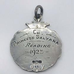 Antique Art Deco Sterling Silver Championship Cat Watch Fob Awards Medal 1925