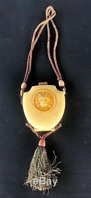 Antique Clutch Case Vanity Art Deco CAT Dance Purse Hand Bag Necessaire Compact