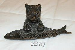 Antique French Art Deco Bronze Cat with Fish Pen Tray Holder Trinket Dish Figure
