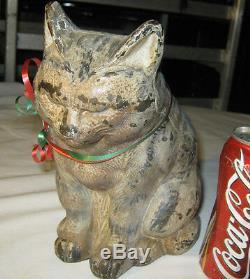 Antique Hubley Lg Cast Iron Sleeping Cat Art Deco Statue Sculpture Door Doorstop