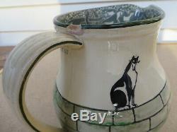Antique Kateroo Henry Souter Jug Royal Doulton Black Cat Pitcher 6 1/2 Tall
